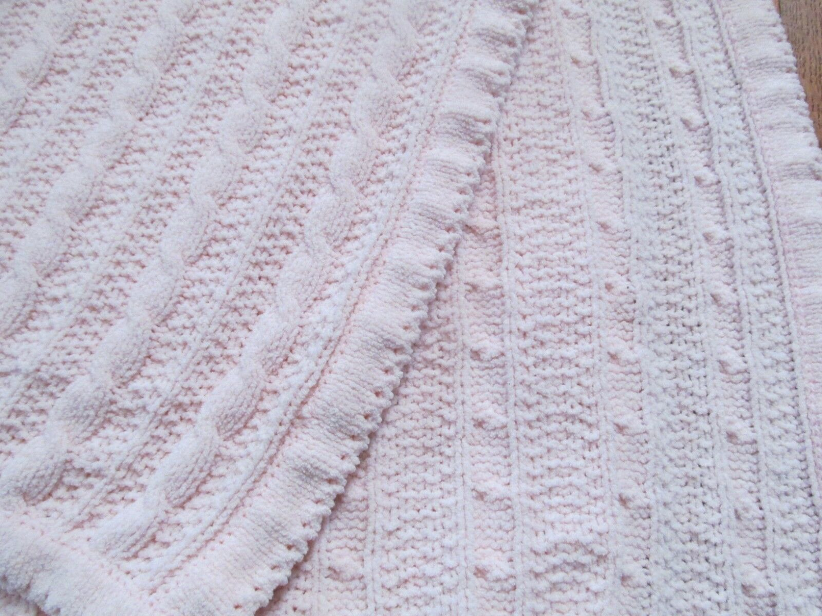 Amy Coe Pink Chenille Cable Knits Baby Blanket Limited