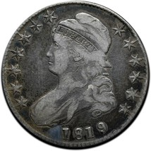1819 Capped Bust Silver Half Dollar 50¢ Coin Lot# A 433 image 1