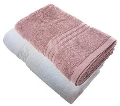 4 X Gestreift Hotel Qualität Ägyptische Baumwolle Malvenfarben Weiß Hand... - $36.27