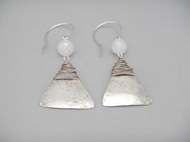 Rose Quartz Dangle Earrings, Sterling Silver Dangles, Natural Gemstones,... - $30.00