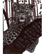 leopard tree drawing original art pen ink animal illustrations black and... - $29.99