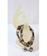 Elephant Charm Tigers Eye Gemstone Stretch Double Bracelet Brown & Silve... - $14.84