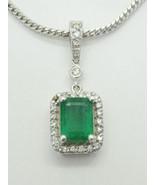 "Natural Emerald & Diamond 14k White Gold Pendant Chain 20"" Gemworld Cert... - $3,800.00"