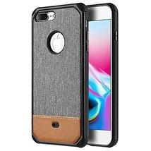 iPhone 8 Plus Case, [Canvas, PU Leather] Dual Tone TPU Flexible Cover PC... - $13.81
