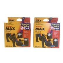 Kodak Max Flash One-time Use Camera 4 Pack 108 Total Exposures DBD 7/2002 - NEW - $24.74