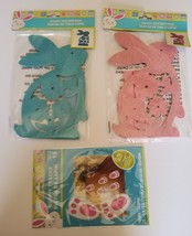 Easter Bunny Rabbit Wood Cutout centerpiece Glitter Blue Pink Bunny Trac... - $14.95