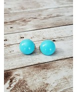 "Vintage Clip On Earrings Avon Bright Blue / Turquoise 5/8"" - $11.99"
