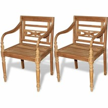 vidaXL 2 pc Teak Wood Dining Arm Chair Outdoor Garden Patio Furniture Ba... - $214.99