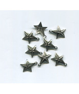 8 metal star charms 15mm x 17mm celestial silver tone jewelry making sup... - $2.40