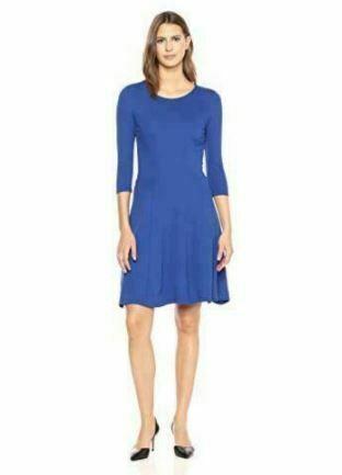Brand - Lark & Ro Women's Three Quarter Sleeve Knit, Cobalt, Size Medium