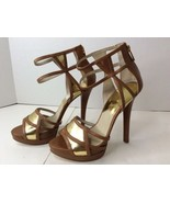 Michael Kors MK Jaida Back Zip Brown Gold Stiletto Heels Shoes Womens Size 8 - $92.06