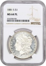 1881-S NGC MS64 PL - Morgan Silver Dollar - $145.50