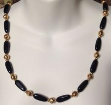 """Vintage Napier Necklace Gold Black Bead 1970's 14"""" - $16.78"""