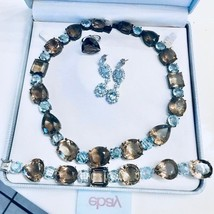 Huge 1000ct Smoky Quartz Blue Topaz 925 SS Necklace, bracelet, earrings ... - $9,999.99