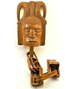 Folk Art Burl Wood Carving Mask Face with Chain All One Piece - $59.39