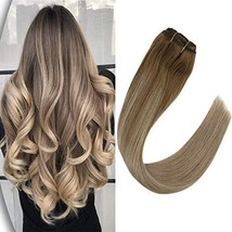 VeSunny 14inch Remy Clip in Hair Extensions Human Hair Balayage #6 Brown Fading