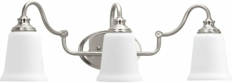 Classic Dome Shade 3 Socket Vanity Light: Bathroom Vanity Light Glass Shades 3-Light Clean Classic