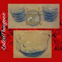 Morgantown Set of 9 Crinkle Peacock Blue Fruit Dessert Bowls 4135548 - $85.13