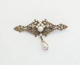 Vintage Medieval Lips Pear Pearl Dangle Brooch H4 - $11.99