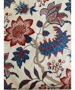 5 Yds P Kaufmann Waverly Maldives Lapis Blue Cream Red Floral Leaf Vine Fabric  - $130.99