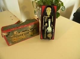 Vintage Yone Tin Coffin Bank Skelton Made In Japan - Works - $38.69