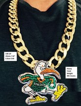 Miami Hurricanes Heavy 20mm Sebastian Ibis Turnover Chain Necklace 14K G... - $102.84