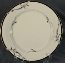 Gorham Manhattan Dinner Plates Fine China Black Band Gray Gold Leaves 24kt - $17.99