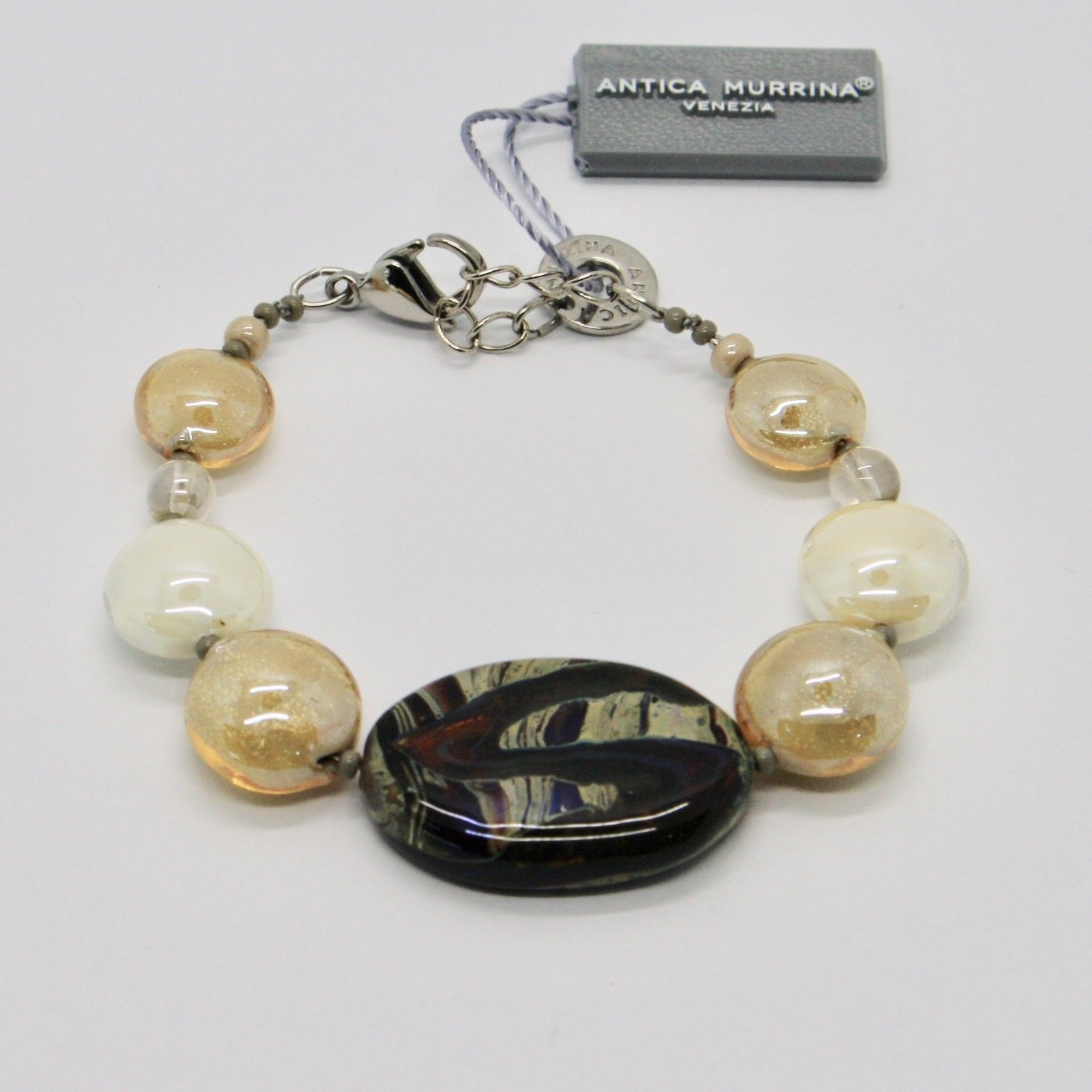 BRACELET ANTICA MURRINA VENEZIA WITH MURANO GLASS BROWN CREAM BR794A10