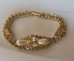 "Vintage Faux Pearl and Rhinestone Prong Set Bracelet 7"" long - $54.45"