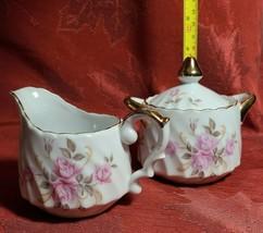 Vintage Lefton Roses W/ Gold Trim Hand Painted Creamer & Covered Sugar B... - $12.94