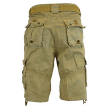 Men's Premium Cotton Twill Slim Fit Cargo Camo Shorts With Woven Belt image 13