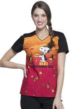 Snoopy Cherokee Tooniforms Peanuts Thanksgiving V Neck Scrub Top TF686 PNGV - $14.97+