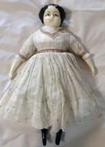 Vintage Doll Black Hair Brown Eyes China Head Hands Feet Original Clothe... - $69.24