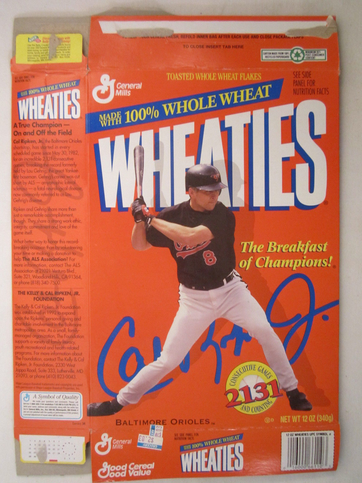 Primary image for Empty WHEATIES Box 1995 12oz CAL RIPKEN, JR [Z202e11]