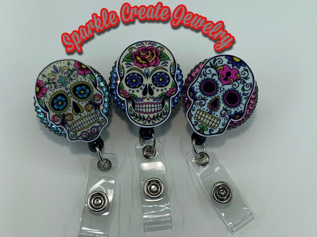Sugar Skull Rhinestone Retractable Badge Reel