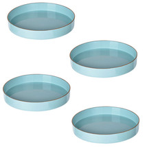 "Set Of 4 Mimosa Round Tray D10"" Powder Blue - 42537-TURQ - £44.97 GBP"