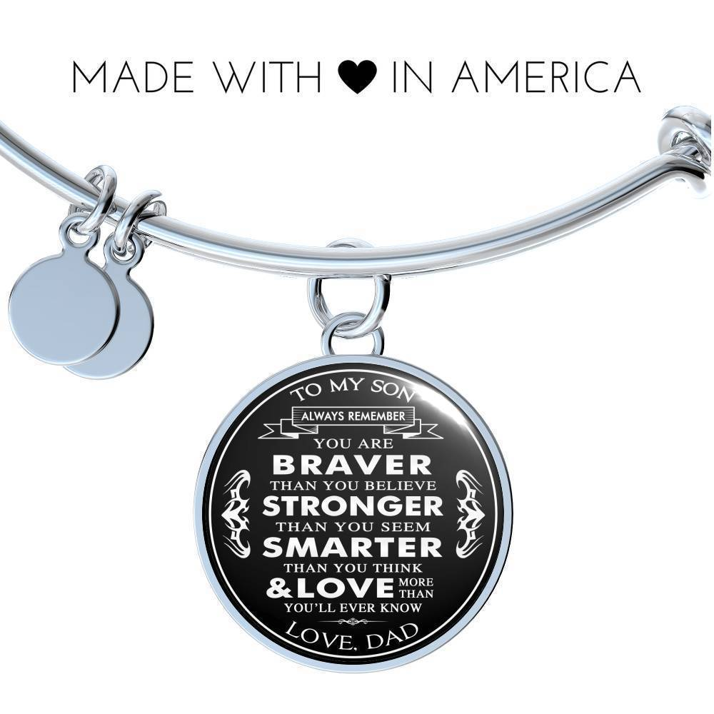 Great Dad To Son Luxury Necklace Bangle - Birthday Gifts From Daddy Papa Father