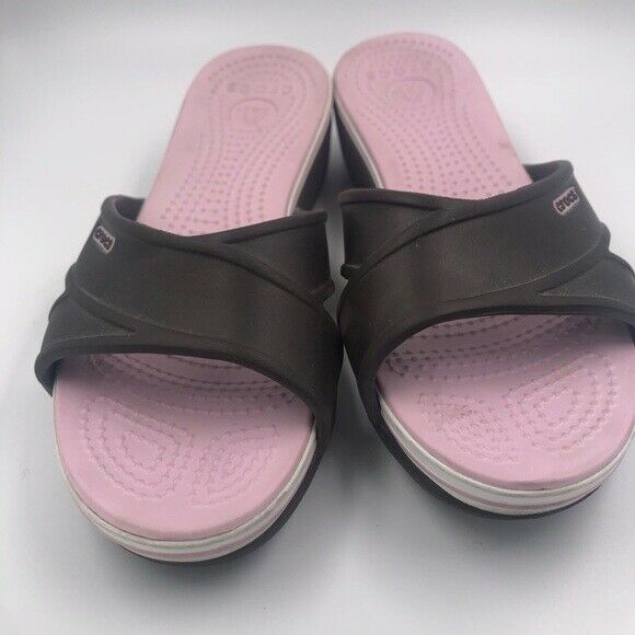 Primary image for Crocs Slide Sandals Brown Pink Tone Size 6 W
