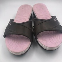 Crocs Slide Sandals Brown Pink Tone Size 6 W - $18.81