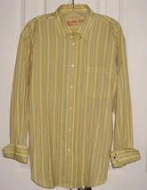 BUGATCHI UOMO DESIGNER MEN'S DRESS SHIRT TEXTURED YELLOW STRIPES SZ LARGE - $29.99