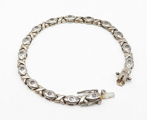 925 Sterling Silver - Vintage Topaz Hugs & Kisses XO Link Chain Bracelet - B5459