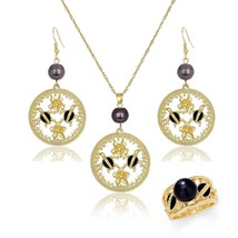 Hawaiian Gold Tortoise Necklace Sets Earrings Fashion Polynesian Ring Pe... - $22.42