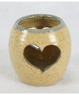"""Jim Rigby Heart Brown Pottery Candle Holder 3"""" - $29.69"""