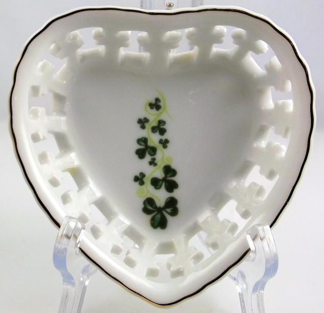 Blarney Porcelain heart shape shamrock trinket dish made in Ireland