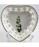 Blarney Porcelain heart shape shamrock trinket dish made in Ireland - $16.00