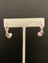 Avon Birthstone Color Hoop Earrings Silvertone w/Rhinestones Pink Octobe... - $10.00