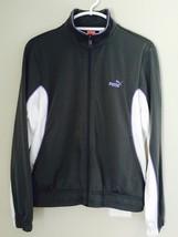 Women's PUMA Size L Large Gray & White Sport Zip Up Jacket Athletic Wear - $30.42