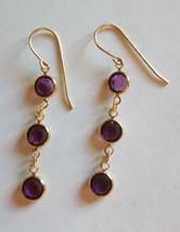 Swarovski Elements 10K Gold Plate Dangle Earrings Purple Crystal Stones - $11.88