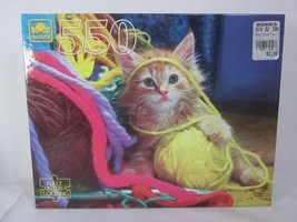 Golden 550 Piece Jigsaw Puzzle Kitten Playing in the Yarn SEALED - $13.85