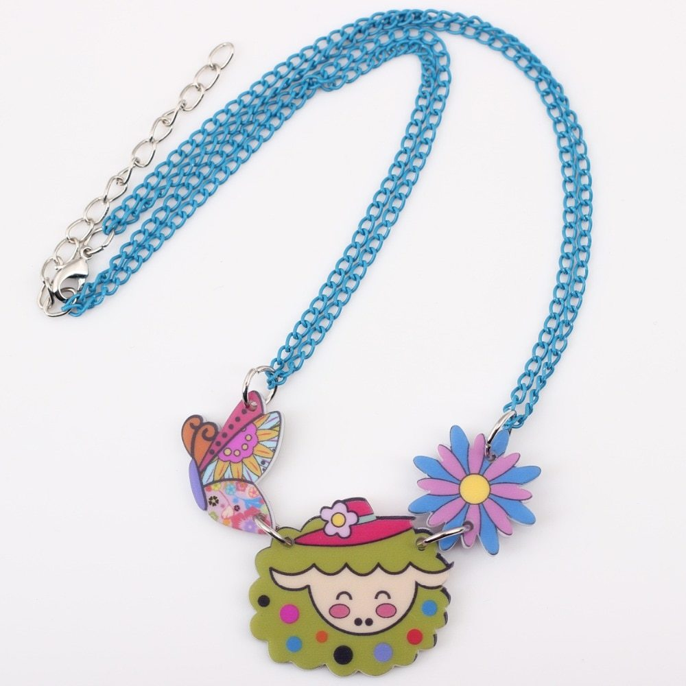 sheep necklace pendant acrylic pattern 2016 news accessories spring summer cute  image 4